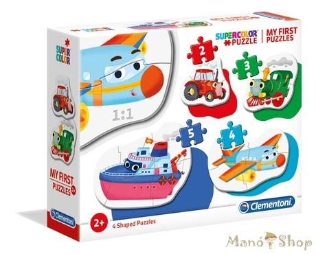 Clementoni 4 az 1-ben Bébi sziluett puzzle (2,3,4,5 db-os) - Járművek