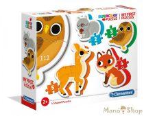 Clementoni 4 az 1-ben Bébi sziluett puzzle (2,3,4,5 db-os) - Erdei állatok