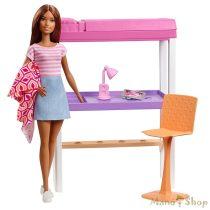 Barbie bútorok: Hálószoba barna hajú Barbie babával