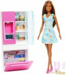 Barbie bútorok: Hűtőszekrény barna Barbie babával