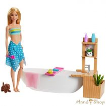 Barbie feltöltődés - Habfürdő játékszett babával