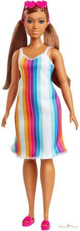 Barbie 50. évfordulós Malibu baba - Szívárvány mintás ruhában (GRB38)