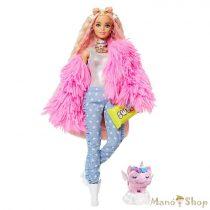 Barbie Extravagáns baba - Rózsaszín kabátban unikornis kismalaccal