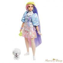 Barbie Extravagáns baba - Csillámos ruhában kutyussal