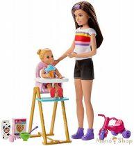 Barbie Bébiszitter játékszett - Bébiszitter és etetőszék szett babával