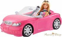 Barbie baba rózsaszín kabrióval