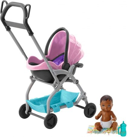Barbie bébiszitter kiegészítő szettek - Babakocsi barna babával
