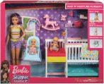 Barbie bébiszitter gyerekszoba szett